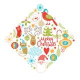 Reeks elementen van Kerstmis en van het Nieuwjaar Royalty-vrije Stock Fotografie