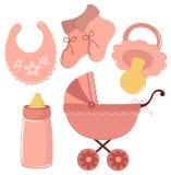 Reeks elementen voor de prentbriefkaar van de baby Stock Foto's