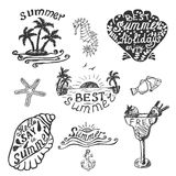 Reeks elementen voor de zomer kalligrafisch ontwerp Royalty-vrije Stock Afbeelding