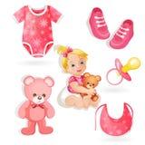 Reeks elementen voor een babymeisjes Stock Foto's