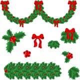 Reeks elementen voor Kerstmis Stock Afbeeldingen