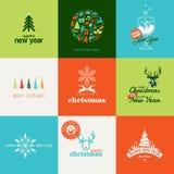 Reeks elementen voor Kerstmis en Nieuwjaargreetin Stock Afbeelding