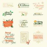 Reeks elementen voor Kerstmis en Nieuwjaargroetkaarten Stock Afbeeldingen