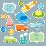 Reeks elementen voor plakboek voor babyjongen Stock Afbeelding