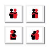 Reeks embleemontwerpen van vrienden die elkaar koesteren - vectorpictogrammen Stock Fotografie