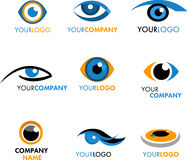 Reeks emblemen en pictogrammen van oog Stock Foto's