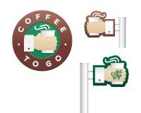 Reeks emblemen en tekens voor koffie om te gaan Stock Foto's