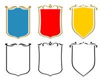 Reeks emblemen, kammen en schilden. JPG, EPS Stock Afbeelding