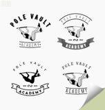 Reeks emblemen met pool vaulting of het springen stock illustratie
