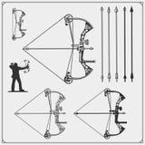 Reeks emblemen van boogschietensporten, etiketten en ontwerpelementen vector illustratie