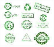 De groene rubberzegels van de ecologie Stock Afbeelding