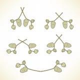 Reeks emblemen van de takken met eikels Royalty-vrije Stock Fotografie