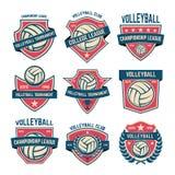 Reeks emblemen van de volleyballclub Volleyballtoernooien Ontwerpelement voor embleem, etiket, embleem, teken Stock Fotografie