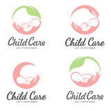 Reeks emblemen van kinderverzorging, moederschap en zwangerschap royalty-vrije illustratie