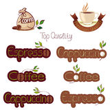 Reeks emblemen voor koffie Stock Afbeelding