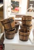 Reeks emmers van hout wordt gemaakt dat Stock Foto's