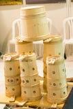 Reeks emmers van hout wordt gemaakt dat Royalty-vrije Stock Afbeeldingen