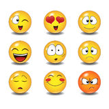 Reeks emoticons royalty-vrije stock foto's