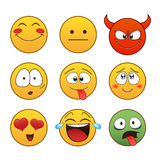 Reeks emoticons Royalty-vrije Stock Foto's