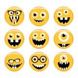 Reeks emoticons Emoji Monstergezichten in glazen met verschillende uitdrukkingen Stock Afbeelding