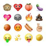 Reeks emoticons, emoji, witte achtergrond vector illustratie