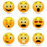 Reeks emoticons Glimlachpictogrammen Smileygezichten Emotionele grappige gezichten in glanzende 3D Stock Foto