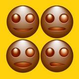 Reeks emoticons, pictogrammen, smileys vectorillustrati van de chocoladekleur Stock Afbeeldingen