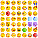 Reeks emoticons Reeks van Emoji Glimlachpictogrammen Stock Fotografie