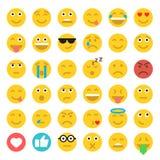 Reeks emoticons Reeks van Emoji Vlakke Stijlillustraties Royalty-vrije Stock Afbeelding