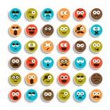 Reeks emotie het glimlachen gezichtenpictogrammen Royalty-vrije Stock Afbeelding