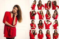 Reeks emotieportretten van sexy donkerbruine vrouw in een rood overhemd Royalty-vrije Stock Foto