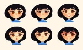 Reeks emoties van de karakter jonge vrouw Vectorbeeldverhaalstijl vector illustratie