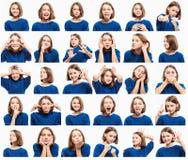 Reeks emotionele beelden van tienermeisje, close-up stock afbeeldingen