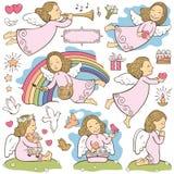 Reeks engelen stock illustratie