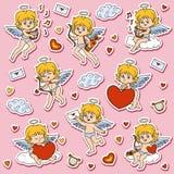 Reeks engelen, karakters van de Dag van Valentine ` s royalty-vrije illustratie