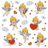 Reeks engelen, karakters van de Dag van Valentine ` s vector illustratie