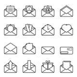 Reeks enveloppictogrammen voor brieven met abstracte die cijfers in hen worden ingesloten Eenvoudig overzicht op een witte achter stock illustratie