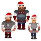 Reeks epische helden van Russische folklore en volksverhalen met rode die hoeden van Santa Claus met pompom op wit wordt geïsolee vector illustratie