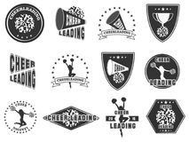 Reeks etiketten, emblemen voor het cheerleading Stock Foto's