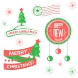 Reeks etiketten en elementen voor Kerstmis en Nieuw Stock Foto's