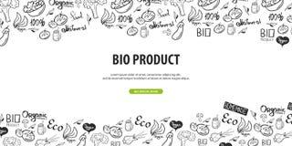 Reeks etiketten en emblemen Gezond voedsel Vegetarische banner Hand-trek krabbelachtergrond Vector illustratie royalty-vrije illustratie