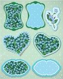 Reeks etiketten en kaarten met patroon van mooie bloemen Stock Foto's