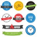 Reeks etiketten en kentekens voor hotels Stock Afbeeldingen