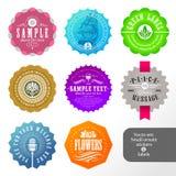 Reeks etiketten en stickers Stock Foto