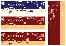 Reeks etiketten met bladeren, druiven en wijnstokken royalty-vrije illustratie