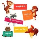 Reeks etiketten met dieren Royalty-vrije Stock Foto's