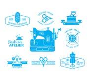 Reeks etiketten met het naaien van en het maken van symbolen Stock Foto