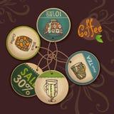 Reeks etiketten met kop van koffie Stock Afbeelding