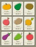 Reeks etiketten met organische groenten, vector Stock Afbeeldingen