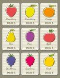 Reeks etiketten met organische vruchten, vector Stock Foto's